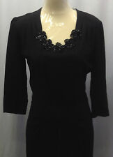 40s Original Black Crepe Dress with Amazing Sequinned Floral Neckline