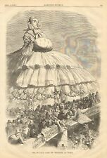 Italy, Monster Lady Of Crinoline At Turin Italy, Vintage 1858 Antique Art Print