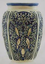 "WELLER ZONA 8.25"" VASE W/BIRDS IN A BERRY BUSH IN AN INTRICATE TRELLIS DESIGN"