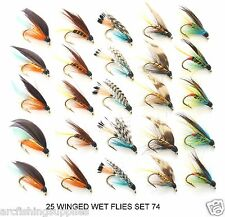 25 Trout Fly Fishing Flies - WET WINGED FLIES for rod reel lines...SET 74