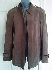 JACKET COAT 14 42 MEDIUM M AUTUMN WINTER BROWN LEATHER SUEDE WALLACE SACKS
