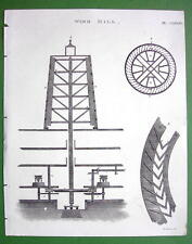 1816 TECHNOLOGY Print Copperplate - 1760s Windmill Construction