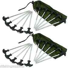 20 X HEAVY DUTY NGT CARP FISHING BIVVY PEGS CAMPING TENT PEG IN DRAWSTRING BAG