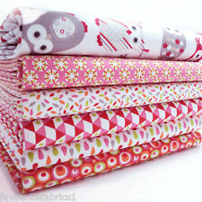 6 X FQ BUNDLE - LIPSTICK GRAPHICS 100% COTTON FABRIC patchwork DOTS OWLS MOD