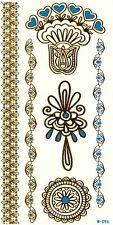 Gold metallic Flash Tattoos orientalisch mit türkis 6 x hübscher Schmuck W-96