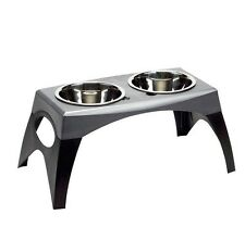 Large Bergan Elevated Double Steel Bowl Stand Feeder Pet Dog Cat Food Water Dish