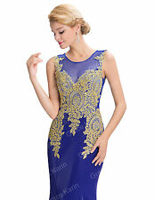 GOLD Appliques Long MERMAID Bridesmaid Dress WEDDING EVENING Party Cocktail Gown