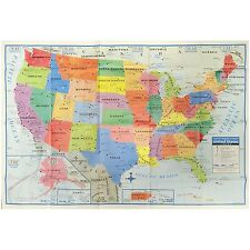 "United States Wall Map US USA Poster Size 40"" x 28"" Home School Office"