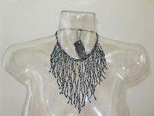 Bebe Black Gray Beaded Necklace NWT