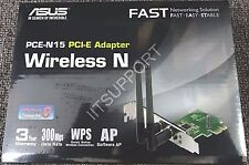 ASUS PCE-N15 Wireless N 300Mbps Speed 802.11b/g/n Wireless PCI-E Internal Card