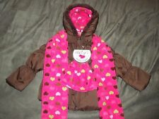 Girls Coat Jacket Brown Puffer Hat Scarf Kids Clothing Size 4 Warm Outdoor Cute
