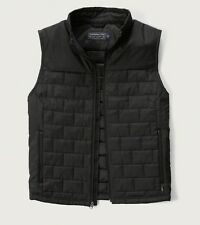 NWT ABERCROMBIE & FITCH MENS BLACK PRIMALOFT LIGHTWEIGHT PUFFER VEST SIZE L