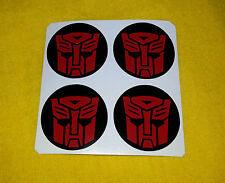 ALLOY WHEEL STICKERS 4 x 65mm Transformers Autobots Red logo centre cap badge
