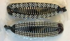 Lot of 4 Black Banana Hair Clip Claw Comb with Rhinestone