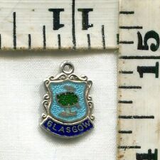 VINTAGE STERLING BRACELET CHARM~#79858~ENAMELED TRAVEL SHIELD~GLASGOW~$14.99!!