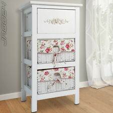 Dresser Cabinet Chest of Drawers Wood Wicker Basket Storage Unit Bedside Table