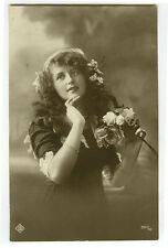 c 1912  Edwardian Young Lady LONG HAIR BEAUTY photo postcard