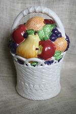 "VTG International Art Ceramic 12"" Fruit Basket Cookie Jar Canister INT'L China"