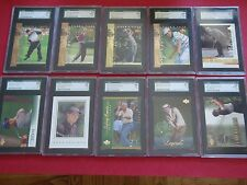 10 Card Graded Golf Lot Tiger Woods, Palmer, Nicklaus, Nelson, Garcia