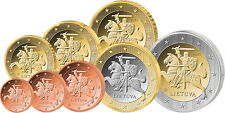 SET OF 8 LITHUANIA LITAUEN 2015 EURO COINS MINT UNCIRCULATED FROM BANK ROLLS