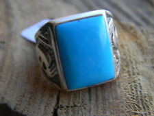 Magnificent sterling silver Navajo mens kokopelli square turquoise ring size.10