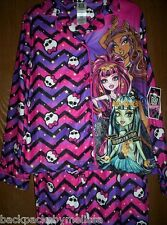 MONSTER High CHEVRON Fleece Pajamas Girl's 14/16 NeW Button Down Shirt Pants Pjs
