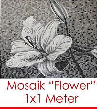 """FEINES STILLVOLLES MOSAIK MOSAIKBILD """"FLOWER"""" 100x100 cm 1 m² 11.000 STEINCHEN"""