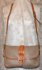DOONEY & BOURKE ALL LEATHER VINTAGE LARGE EQUESTRIAN SHOULDER HANDBAG TAUPE/TAN