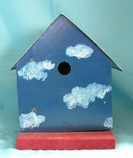 Jesus Loves You Blue And Red Bird House with Clouds - License Plate Top