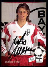 Christian Wörns Autogrammkarte Bayer Leverkusen 1991-92 Original Sign +A40197