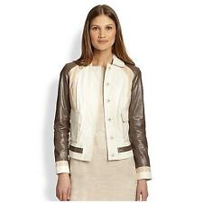 Auth Tory Burch Deena mixed leather Jacket Size 6 Eggshell Peppercorn Nwt $1195