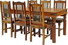 SOLID SHEESHAM WOOD JALI LARGE FIXED DINING TABLE WITH 6 CHAIRS
