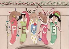 Dachshunds (doxies) hung by the chimney with care / Lynch signed folk art print