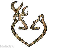 "Camo Deer Heart Buck Hunting Browning Realtree Truck Window Vinyl Decal 5"" H"