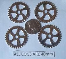 4 STEAMPUNK SILVER COGS/GEARS  MADE FROM METAL ALLOY  AND EACH PIECE IS 40mm