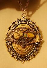 Picot Rimmed Antiqued Gold Spanish Fan Musical Instruments Pendant Necklace