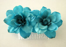 "Double 2.5"" Turquoise Blue Apple Blossom Silk Flower Hair Comb,Bridal,Pin Up"