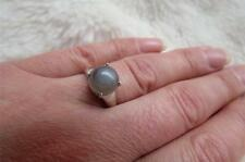 9CT White Gold 2.65CT Moonstone Round Cabochon Stone Ring Size N