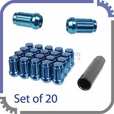20pc Blue Spline Wheel Lug Nuts | 12x1.5 | w/ Socket Key | Cone Seat