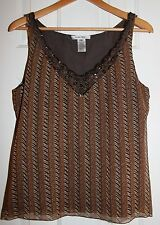 Nine West Brown Print Womens Ladies Sleeveless Blouse Top Size 10 - Excellent