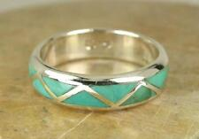 .925 STERLING SILVER TURQUOISE INLAY ETERNITY BAND size 10  style# r2006