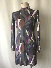 Emilio Pucci Firenze Grey Multi-Colored Geometric Mock Turtleneck Silk Dress.