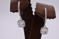 BAYAM Diamonique Cushion Halo CZ Micro Pave Sterling Silver Lever Earrings 925