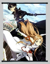 New Anime Sword Art Online SAO Gun Gale GGO Kirito & Asuna Wall Scroll