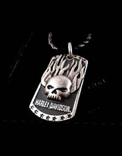 HARLEY DAVIDSON MENS Immunity Flaming Willie G Skull PENDANT NECKLACE