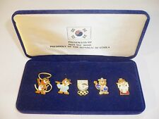 1988 OLYMPIC GAMES SEOUL Mascot Pins Set from PRESIDENT OF THE REPUBLIC OF KOREA