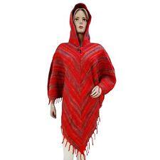 roten Pullover mit Kapuze Poncho Top Wollmischung Frauen Winter tragen Kleidung