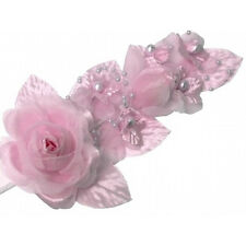 "3 pink Silk Pearl & organza flower  Corsages 5""x 2.5 with pearl pin"