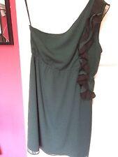 Vero Moda Ladies Dress Size M Dark Green One Shoulder