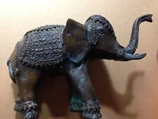 Vintage Antique Bronze Elephant Asian Tibet Tribal Lucky Up Solid Weight Statue